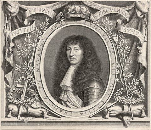 A 17th century print of Louis XIV, King of France and Navarre