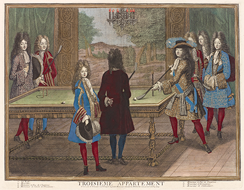 A 17th century color print of the royal family playing billiards in the palace of Versailles
