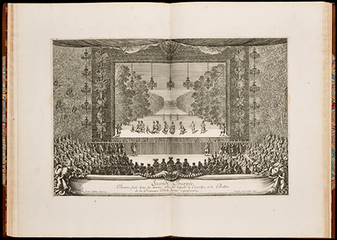View of an open book displaying a 17th century print of a theater performance
