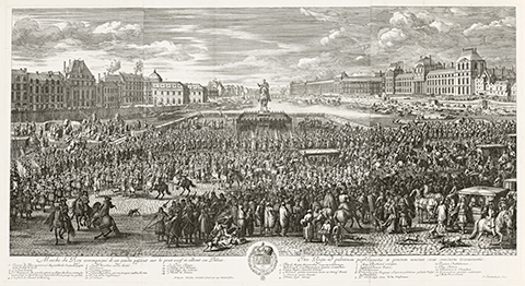 A 17th century print of a large crowd during a procession of the king