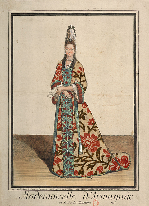 A 17th century color print of a woman in a colorfully patterned dressing gown