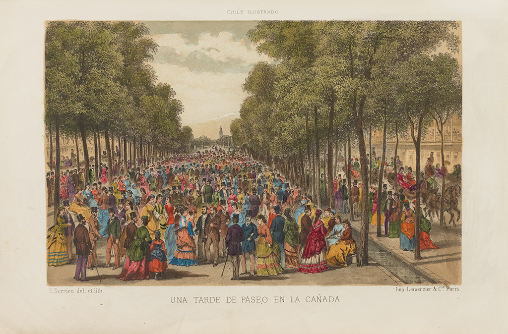 A hand-colored print illustrates throngs of citizens showing off brilliantly colored fashions as they congregate on a long promenade flanked by parallel rows of trees