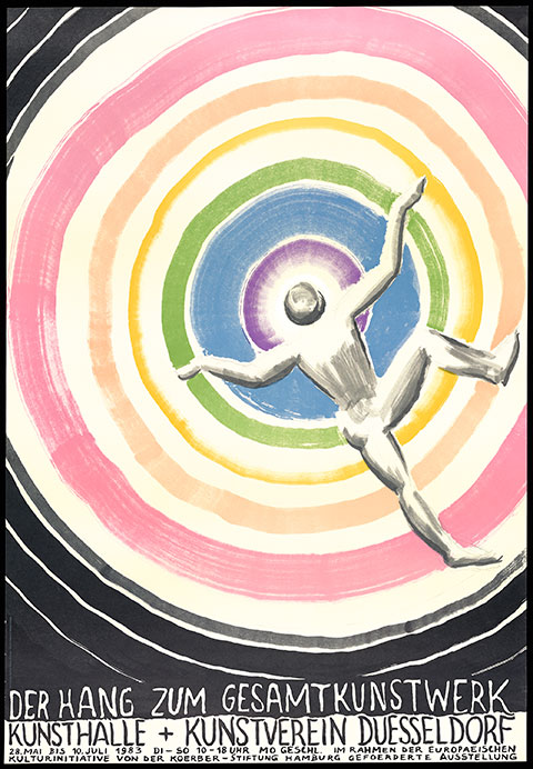 A color poster reproduces a color sketch of a gray man with his arms raised, his back facing toward the viewer, and his head at the center of a violet circle. A series of concentric pale blue, green, yellow, peach, and pink circles expand out from the first circle. The title and date of the exhibiti