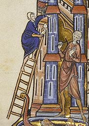 Rebuilding the Temple (detail), in Marquette Bible, about 1270
