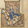 Prince of May hawking on caparisoned horse, Montebourg Psalter