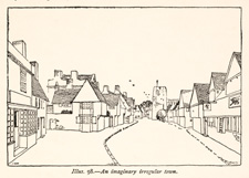 Illustration of an imaginary irregular town / Unwin