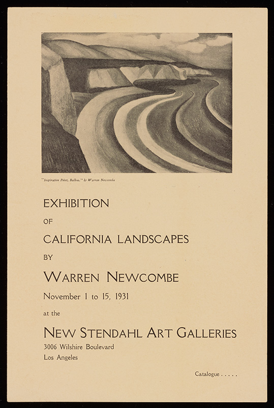 Stendahl Art Galleries exhibition brochure: Exhibition of California Landscapes by Warren Newcombe