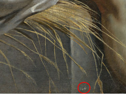 Inventory number on The Entombment. (detail)