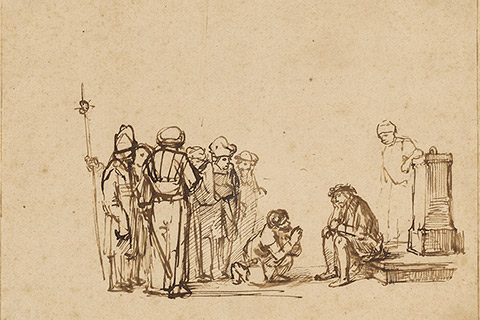 """The Mocking of Christ,"" a drawing by a pupil of Rembrandt Harmensz. van Rijn, about 1650-1655."
