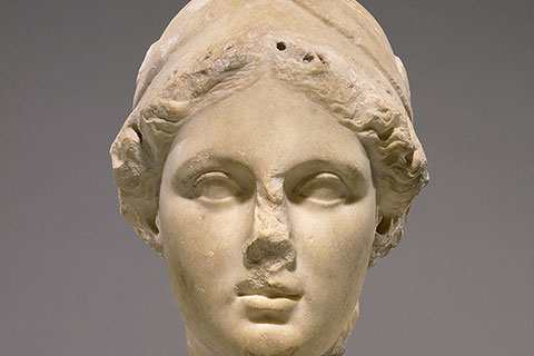 "Detail of a sculpture, ""Head of Athena"" by an unknown Greek artist, 160-150 B.C."