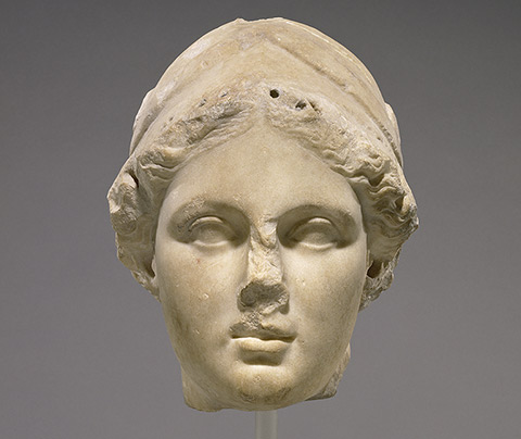 Head of Athena, by an unknown Greek artist, 160-150 B.C.