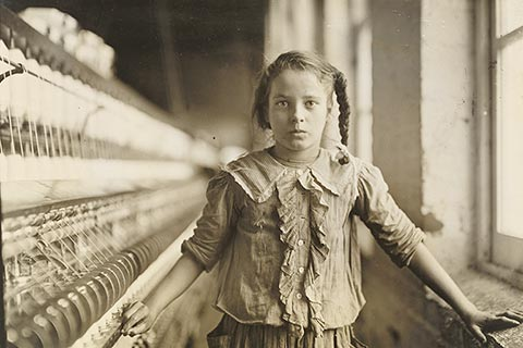 """Cotton-Mill Worker,"" a photograph by Lewis Wickes Hine, 1908."
