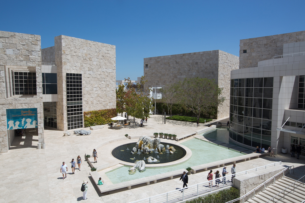 An architectural photograph of the Getty Center courtyard