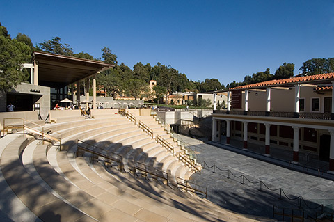 View of the  Barbara and Lawrence Fleischman Theater, an outdoor classical theater at the Villa, based on ancient prototypes.