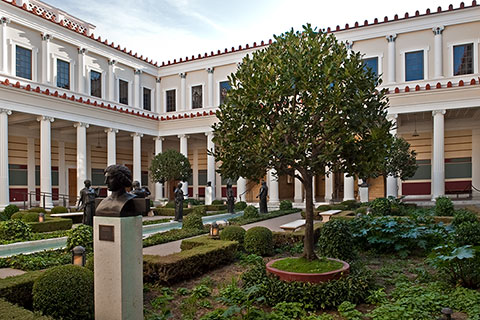 View of the Inner Peristyle Garden at the Getty Villa.