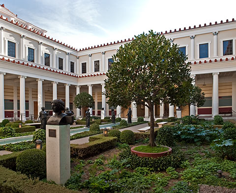 The Inner Peristyle provides an intimate resting spot at the center of the J. Paul Getty Museum.