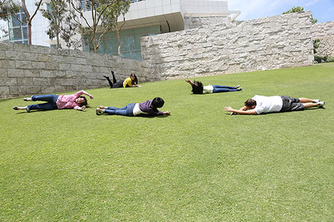 Image of visitors rolling down the grassy hill in the Central Garden.