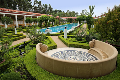 View of the outer peristyle garden at the Getty Villa
