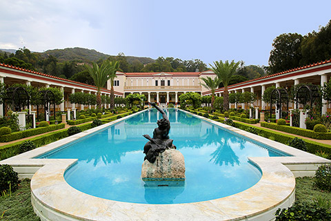 View of the Getty Museum from the Outer Peristyle Garden at the Getty Villa.