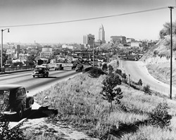 View of Downtown Los Angeles from the Pasadena Freeway / Shulman