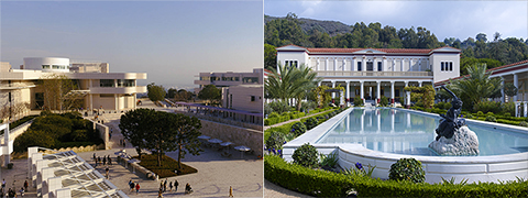 Split view of the Getty Center and the Getty Villa
