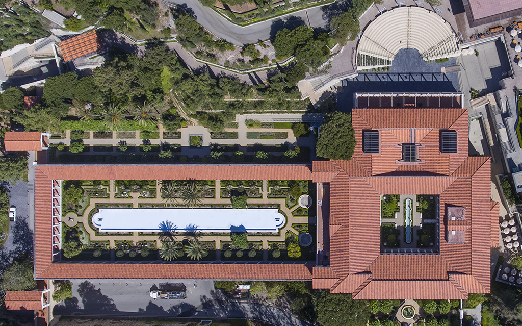 An aerial view of the Getty Villa that shows the overall architecture of the museum and gardens.